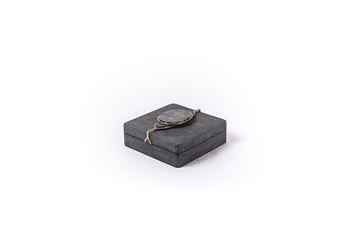 Box in coal black shagreen & lemurian stone