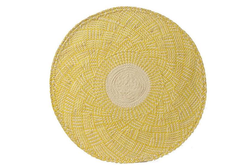 Placemat handwoven yellow & natural  (8pcs)