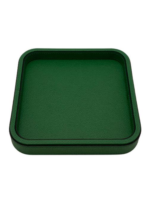 Tray in leather lawn green