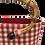 Thumbnail: Bag Red Vichy with natural bamboo handle