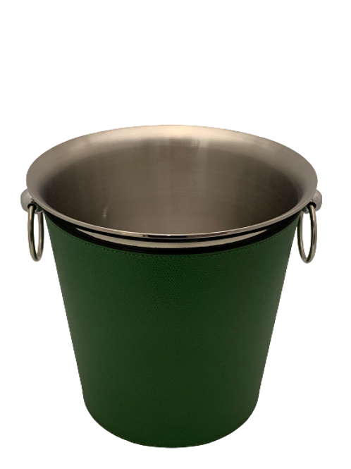 Champagne bucket in leather lawn green