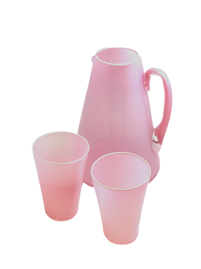 Pitcher with 8 Soda glasses, handblown Pink