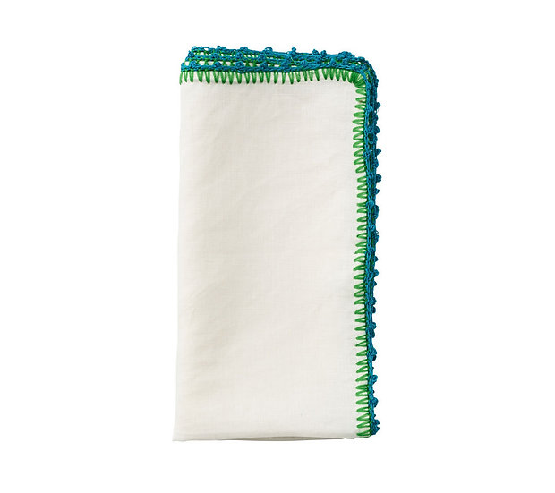 Napkin  white turquoise & green(set of 8)