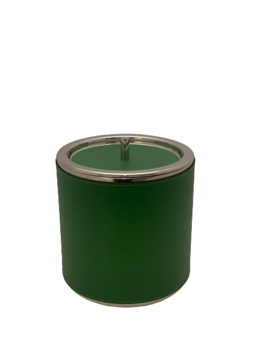 Ice bucket in leather lawn green