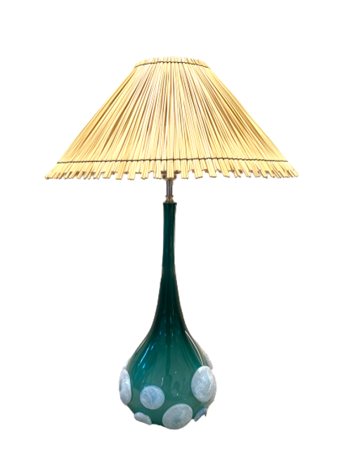Pair of Lamps Handblown glass with Natural Straw shade