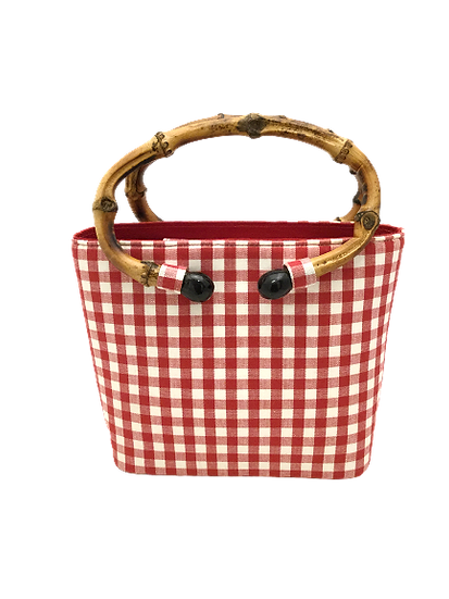 Bag Red Vichy with natural bamboo handle
