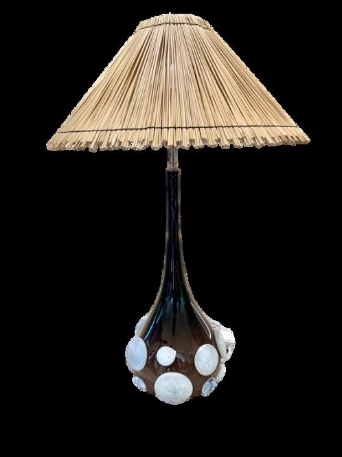 Lamp Handblown glass with Natural Straw shade