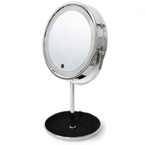 LED Countertop Makeup Mirror with Jewelry Tray