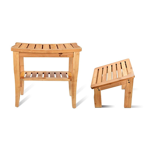 Bamboo Bench with Foot Stool