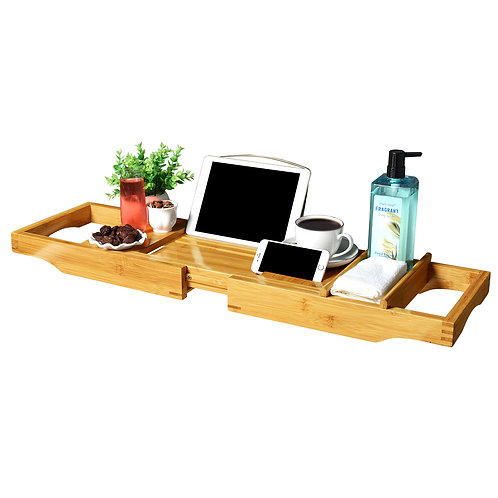 Deluxe Bamboo Bathtub Caddy with Extending Sides