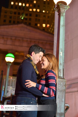 Surprise Proposal outdoors NYC night lights