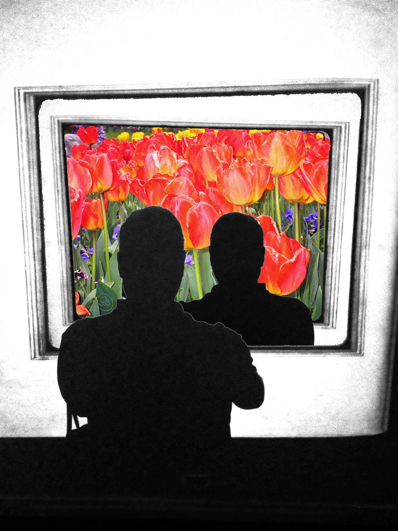 Selfie within a selfie and tulips.jpg
