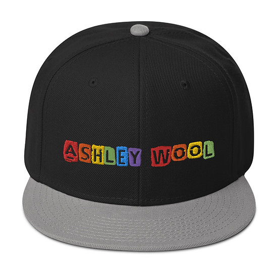 Ashley Wool Rainbow Embroidered Snapback Hat