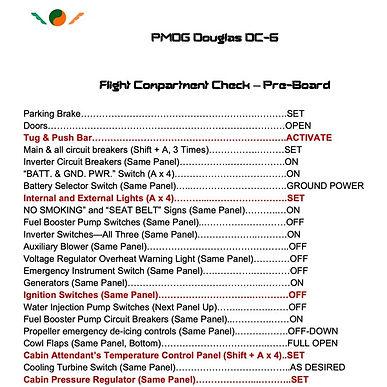 PMDG Douglas DC-6 Checklist