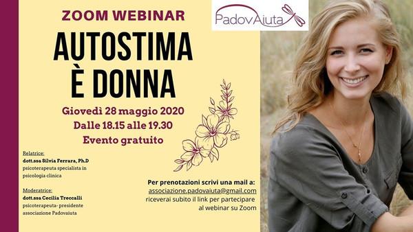 """""""Autostima è donna"""" - 28 maggio zoom webinar"""