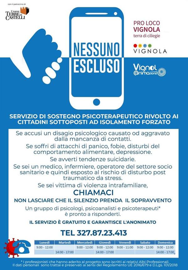 NESSUNO ESCLUSO:PROGETTO DI SOSTEGNO PSICOLOGICO ALLA POPOLAZIONE PER L'EMERGENZA COVID19