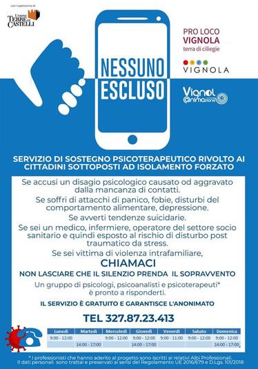 NESSUNO ESCLUSO: PROGETTO DI SOSTEGNO PSICOLOGICO ALLA POPOLAZIONE PER L'EMERGENZA COVID19