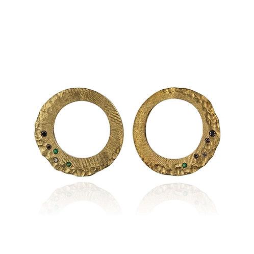 boucles d'oreilles vermeil or 18 carats 5 microns argent massif 925 émeraudes diamants blanc diamants champagne femme gaston