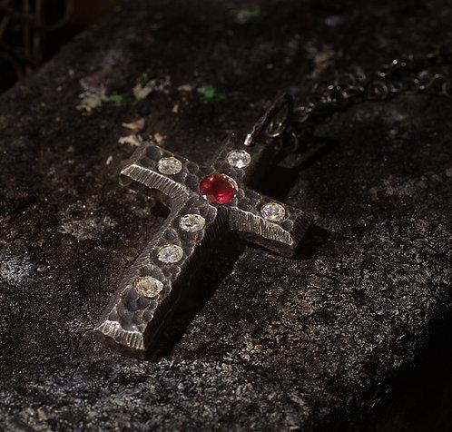 Pendentif créateur croix mixte unisexe argent massif 925 oxydé grenat rhodolite et zircons Gaston Bijoux