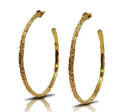 Boucles d'oreilles contemporaines créoles femme or doré vermeil créateur Gaston Bjoux