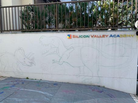 「みんなで恐竜の壁画」