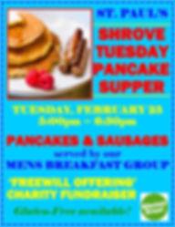 Shrove Tuesday Pancake Supper FEB09 2020