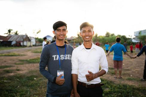Teacher Vutha and Teacher Tharam smile for the camera!