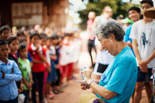 Grandma Kim looking very surprised after opening a letter from one of the Samrang Village students.