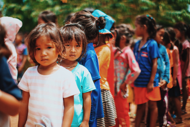 TASSEL students line up in front of the classrooms.
