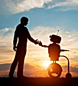 Human touching and connecting with robot