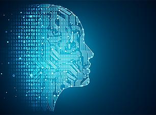 Futuristic AI face full of codes and lines