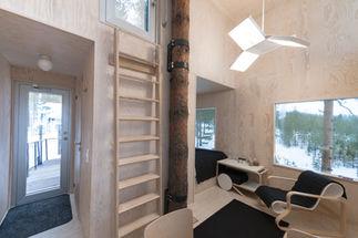 The mirrorcube  interior/ Tree Hotel, Harads, Sweden