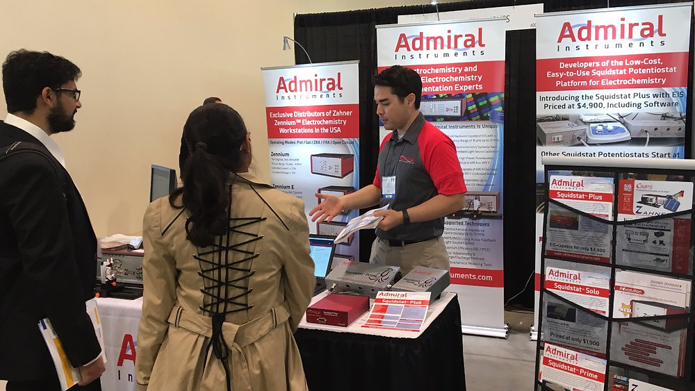 Mark Sholin from Admiral Instruments exhibiting Squidstat potentiostats and other electrochemistry instrumentation at the ECS Fall 2017 Conference