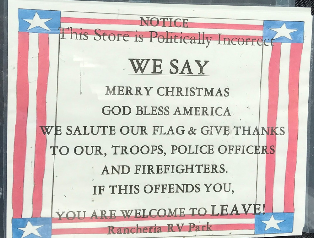 Offensive sign at Rancheria RV Park in CA