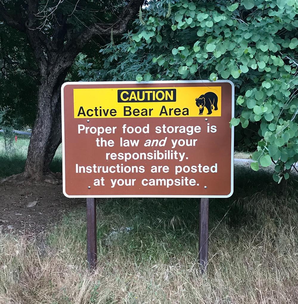 Bear warning sign at Potwisha Campground, Sequoia National Park