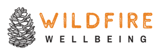 Wildfire Wellbeing Logo, a dark grey pinecone with orange and grey text.