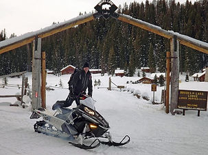 Snowmobiler at Brooks Lake Lodge, an all inclusive resort near Yellowstone