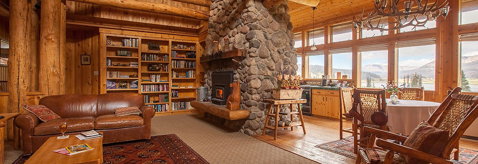 Library and Fireplace at Brooks Lake Lodge, an all inclusive resort in Dubois, WY