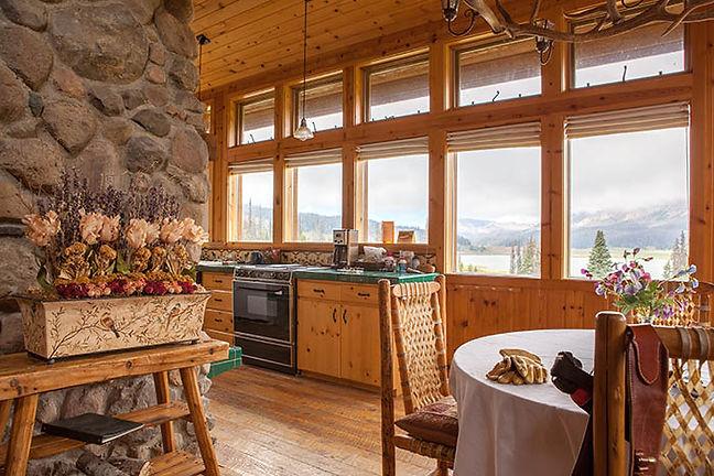 A Cabin kitchen at Brooks Lake Lodge, an all inclusive resort in Dubois, WY at Brooks Lake Lodge, an all inclusive- resort