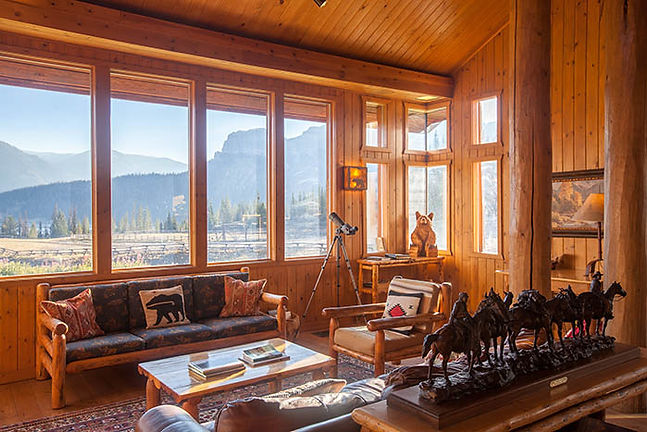 Sunny interior at Brooks Lake Lodge all inclusive lodging