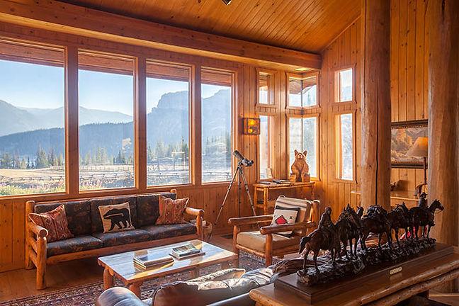 Sunny interior at Brooks Lake Lodge all inclusive lodging
