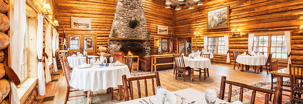 Dining room at Brooks Lake Lodge, an all inclusive resort in Dubois, WY