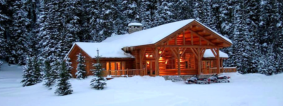 Snowy spa building at Brooks Lake Lodge, an all-inclusive luxury resort near Yellowstone