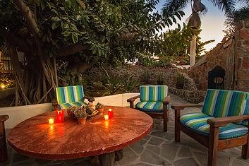 "Casa Bentley Hotel Todos Santos Table ""under the hule"" for evening chats."