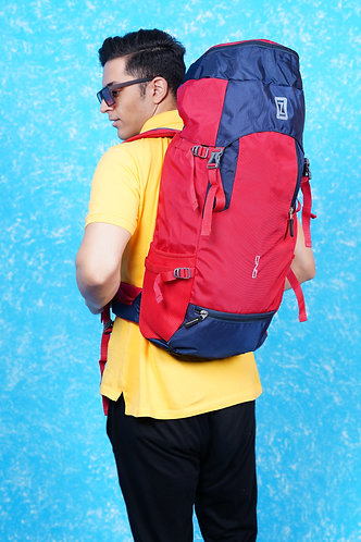 OZO 70 L Dark Blue & Red Color Hiking Trekking Travel Backpack