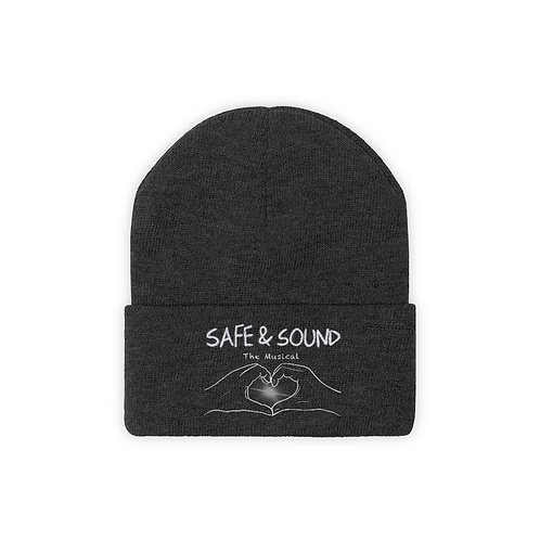 SAFE & SOUND (B&W Logo on Knit Beanie)