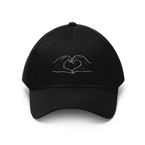 SAFE & SOUND (B&W hand logo on Unisex Twill Hat)