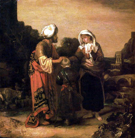 Hagar and Ishmael taking leave of Abraham