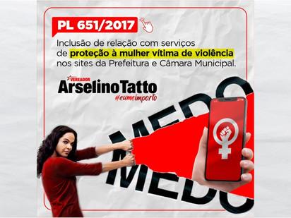 Relação de serviços de proteção à mulher vítima de violência em sites da Prefeitura e Câmara