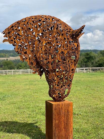 2m Rustic Patina Horse Hea